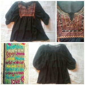 Tops - Sheer Embroidered Peasant Blouse